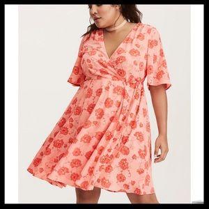 Torrid Floral Print Georgette Wrap Dress